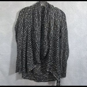 INC Black Silver Open Front Cardigan Size L